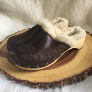 UGG shearling lined leather clogs